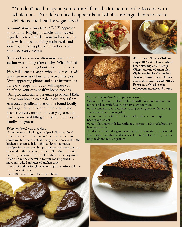 Cookbook Back Cover : Cookbook triumph of the lentil